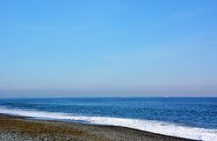 Japanese Winter Beach. This coast of Japan Kanagawa called Shonan Beach, every summer comes.It is a famous sandy beach bustling with many surfers stock photos