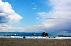 Japanese Winter Beach. This coast of Japan Kanagawa called Shonan Beach, every summer comes.It is a famous sandy beach bustling with many surfers Stock Images