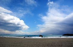 Japanese Winter Beach. This coast of Japan Kanagawa called Shonan Beach, every summer comes.It is a famous sandy beach bustling with many surfers royalty free stock images