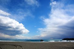 Japanese Winter Beach. This coast of Japan Kanagawa called Shonan Beach, every summer comes.It is a famous sandy beach bustling with many surfers Stock Image