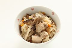 Japanese winter food, chicken and Maitake mushroom rice. Carrot and broth for homemade comfort food image stock images