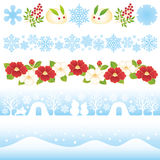 Japanese winter illustrations. Royalty Free Stock Image
