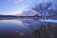 Japanese winter reflection Stock Photo