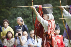 Japanese woman archer wearing traditional clothes in Tokyo Royalty Free Stock Images
