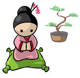 Japanese Woman With Banzai Tree Background Royalty Free Stock Image