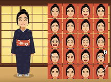 Japanese Woman Cartoon Emotion faces Vector Illustration Royalty Free Stock Photo