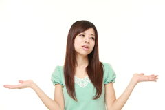 Japanese woman confused Stock Photos