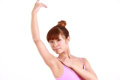 Japanese woman dances ballet Royalty Free Stock Images