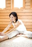 Japanese woman doing exercise Royalty Free Stock Photo
