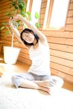 Japanese woman doing exercise Stock Images