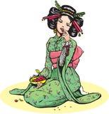 Japanese woman eats cherries Stock Image