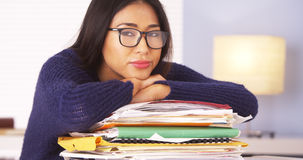 Japanese woman fed up with paperwork Royalty Free Stock Images