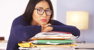 Japanese woman fed up with paperwork Stock Photography