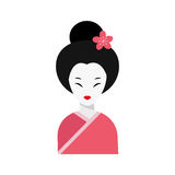 Japanese woman folk art maiden character vector. Royalty Free Stock Photo