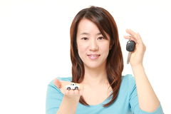 Japanese woman get a new car Stock Images