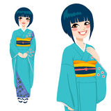 Japanese Woman in Green Kimono Royalty Free Stock Images