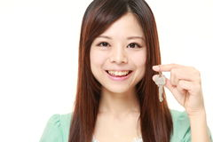 Japanese woman with home key stock images