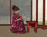 Japanese Woman inside her House Royalty Free Stock Photos