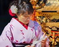 Japanese woman with Kimono dress Stock Image