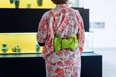 Japanese woman in kimono. No face, back view. Asian traditional clothes. Stock Photography