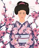 Japanese woman in kimono with  sakura Stock Photo