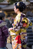 Japanese woman kimono temple royalty free stock photography