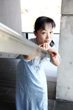 Japanese woman leaned on the stair railing. Portrait of young japanese woman leaned on the stair railings Stock Photos
