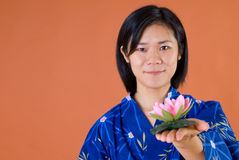 Japanese woman with lotus Stock Photo