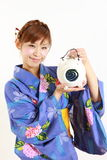 Japanese woman with mosquito coil Stock Photos