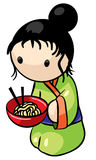 Japanese Woman With Noodle Dinner. A Japanese woman kneeling down ready to serve or eat Saimin noodles Royalty Free Stock Images