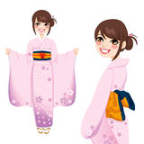 Japanese Woman in Pink Kimono Stock Photo