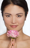 Japanese Woman WIth Pink A Rose Royalty Free Stock Photo