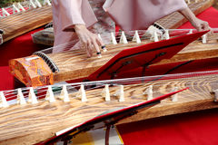Japanese woman playing the traditional instrument Royalty Free Stock Photos