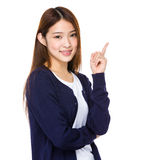 Japanese woman pointing side Stock Image