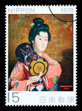 Japanese Woman Postage Stamp Stock Image