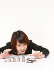 Japanese woman presenting and showing something Royalty Free Stock Photography