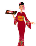 Japanese woman with salver Royalty Free Stock Photography