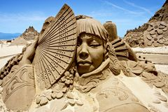 Japanese woman sand sculpture Royalty Free Stock Image