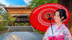Japanese Woman at Sanmon Gate of Nanzenji Temple in Kyoto Royalty Free Stock Image