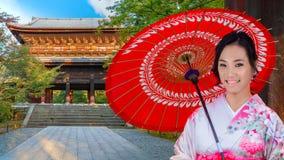 Japanese Woman at Sanmon Gate of Nanzenji Temple in Kyoto Stock Photos