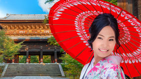 Japanese Woman at Sanmon Gate of Nanzenji Temple in Kyoto Stock Photos