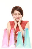 Japanese woman with shopping bags Stock Image