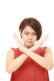 Japanese woman showing NO gesture Royalty Free Stock Photos