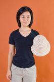 Japanese woman with straw hat Royalty Free Stock Photo