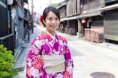 Japanese woman with traditional Japanese clothes Royalty Free Stock Images