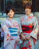 Japanese Woman with Traditional Kimono Dress. KYOTO, JAPAN - OCTOBER 23: Japanese Ladies in Kyoto, Japan on October 23, 2014. Unidentified Japanese ladies with Stock Photos