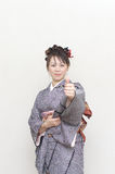 Japanese woman,tumb up Stock Photos