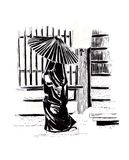 Japanese woman under the umbrella. Sketch. Japanese woman in a traditional suit. It goes along the street with characteristic buildings. Sketch in ink Stock Photos