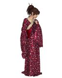Japanese Woman Wearing a Red Kimono Royalty Free Stock Image