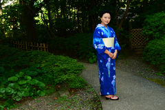 Japanese Woman Wearing Yukata Royalty Free Stock Photo